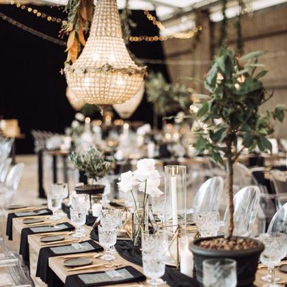 Zeltīti galda piederumi + Sparkle glāzes / Layercake Deco